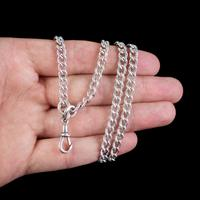 Antique Victorian Long Curb Guard Chain Sterling Silver circa 1900 (2 of 6)