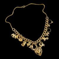 Vintage Gold Charm Necklace 9ct Gold 12 Charms & Medallion Dated 1920 (9 of 11)
