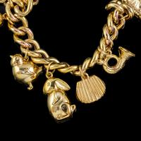 Vintage Gold Charm Necklace 9ct Gold 12 Charms & Medallion Dated 1920 (4 of 11)