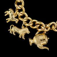 Vintage Gold Charm Necklace 9ct Gold 12 Charms & Medallion Dated 1920 (3 of 11)