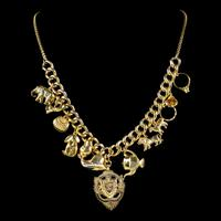 Vintage Gold Charm Necklace 9ct Gold 12 Charms & Medallion Dated 1920 (11 of 11)