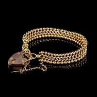 Antique Edwardian Padlock and Key Bracelet 9ct Gold Lewis Brothers Dated 1903 (4 of 6)