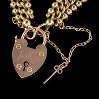 Antique Edwardian Padlock and Key Bracelet 9ct Gold Lewis Brothers Dated 1903 (6 of 6)