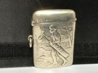 Rare Solid Silver Golfers Vesta Case