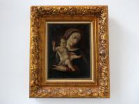 Madonna and Child Oil On Canvas Signed Solana