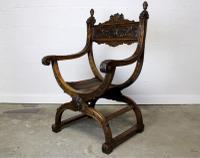 "Antique French ""Dagobert"" X-Frame Armchair (2 of 5)"