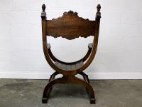 "Antique French ""Dagobert"" X-Frame Armchair (5 of 5)"