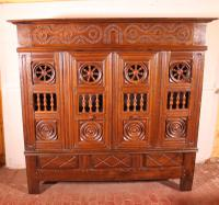 17th Century Breton Wardrobe or Cupboard in Oak Turning in Boxwood