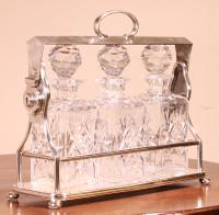 Liquor Cellar / Tantalus in Silver Metal Three Crystal Bottles (2 of 10)