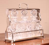 Liquor Cellar / Tantalus in Silver Metal Three Crystal Bottles (5 of 10)