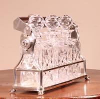 Liquor Cellar / Tantalus in Silver Metal Three Crystal Bottles (8 of 10)