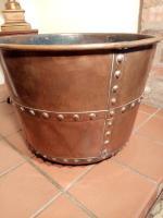 Victorian Copper Riveted Log Bin / Basket / Cauldron