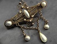 Antique Norwegian Solje Brooch, Silver Gilt & White Enamel (5 of 9)