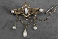 Antique Norwegian Solje Brooch, Silver Gilt & White Enamel (4 of 9)
