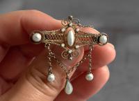 Antique Norwegian Solje Brooch, Silver Gilt & White Enamel (3 of 9)