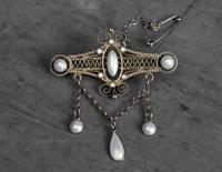 Antique Norwegian Solje Brooch, Silver Gilt & White Enamel (2 of 9)