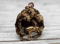 Antique Japanese Shakudo Pendant, Stork & Stream Under Tree, Meiji Period (2 of 8)