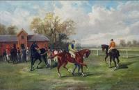 John Parker Davis American. Equine School, Oil on Canvas