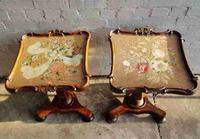 Fine Pair of Victorian Rosewood Tapestry Topped Side Tables