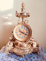 19th Century French Solid Gilt Ormolu Bronze Mantle Clock by S. Marti