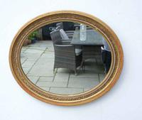 Edwardian Oval Giltwood and Gesso  Overmantle Mirror 67Cm X 58 Cm (10 of 10)