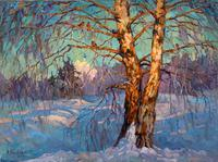 Russian Oil Painting on Canvas - Winter - Exceptional Quality