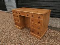 One Piece Twin Pedestal 19th Century Pine Desk Bureau (2 of 11)
