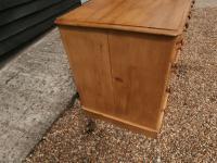 One Piece Twin Pedestal 19th Century Pine Desk Bureau (4 of 11)