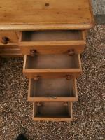 One Piece Twin Pedestal 19th Century Pine Desk Bureau (5 of 11)