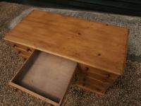 One Piece Twin Pedestal 19th Century Pine Desk Bureau (7 of 11)