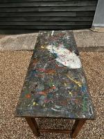 Mid 20th Century Beech Art School College Work Table Craft Crafter Graffiti (3 of 10)