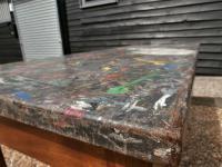 Mid 20th Century Beech Art School College Work Table Craft Crafter Graffiti (10 of 10)