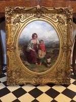 19th Century Oil on Canvas, Landscape with Girl, a Child & Dog, Signed James Curnock 1858 (8 of 11)