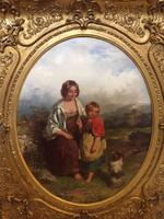 19th Century Oil on Canvas, Landscape with Girl, a Child & Dog, Signed James Curnock 1858 (9 of 11)