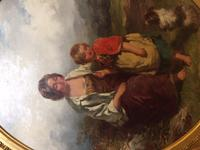 19th Century Oil on Canvas, Landscape with Girl, a Child & Dog, Signed James Curnock 1858 (10 of 11)