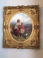 19th Century Oil on Canvas, Landscape with Girl, a Child & Dog, Signed James Curnock 1858 (2 of 11)
