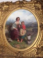 19th Century Oil on Canvas, Landscape with Girl, a Child & Dog, Signed James Curnock 1858 (3 of 11)