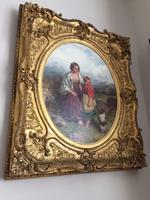 19th Century Oil on Canvas, Landscape with Girl, a Child & Dog, Signed James Curnock 1858 (4 of 11)