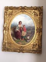 19th Century Oil on Canvas, Landscape with Girl, a Child & Dog, Signed James Curnock 1858 (5 of 11)