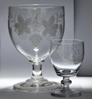 Large, Late Georgian, Ovoid-Bowled, Hop & Barley Engraved Ale Glass or Goblet (2 of 8)