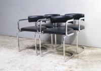 1970s Italian Modern Glass Dining Table with Chrome & Leatherette Chairs (2 of 6)
