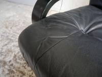 1970s Danish Mid Century Leather Reclining Swivel Chair (5 of 6)