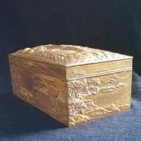 Antique Oriental Trinket Box in Gilt Metal with Proverb in Relief