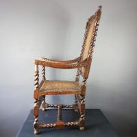 Jacobean Renaissance Revival Carved Walnut & Cane Throne Chairs c.1870 (24 of 39)