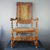 Jacobean Renaissance Revival Carved Walnut & Cane Throne Chairs c.1870 (15 of 39)