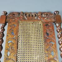 Jacobean Renaissance Revival Carved Walnut & Cane Throne Chairs c.1870 (17 of 39)