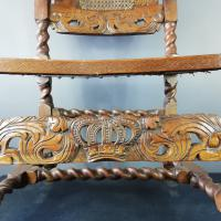 Jacobean Renaissance Revival Carved Walnut & Cane Throne Chairs c.1870 (19 of 39)