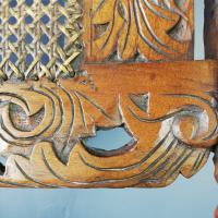Jacobean Renaissance Revival Carved Walnut & Cane Throne Chairs c.1870 (22 of 39)