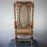 Jacobean Renaissance Revival Carved Walnut & Cane Throne Chairs c.1870 (37 of 39)
