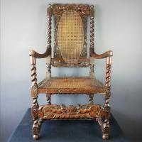 Jacobean Renaissance Revival Carved Walnut & Cane Throne Chairs c.1870 (18 of 39)